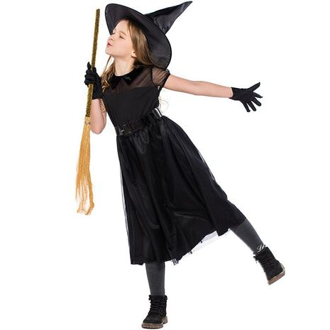 Halloween Witch Costume Black Mesh Little Devil Girl Dress Up Performance Costume NHFE153954's discount tags