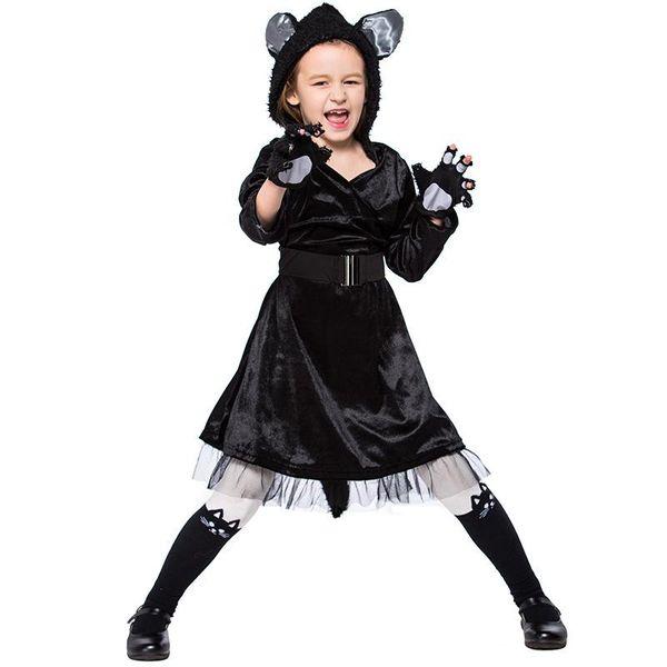 Halloween Cosplay Black Cat Dress Performance Costume NHFE153966