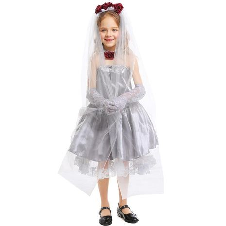 Halloween cosplay ghost bride girl silver dress NHFE153970's discount tags