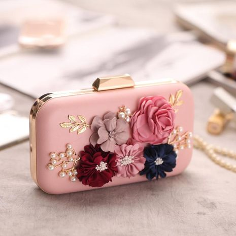 European and American hand-held rose flower package hard shell evening bag NHYG154070's discount tags
