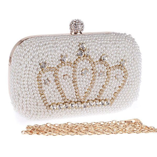 Stylish and simple artificial gemstone crown banquet bag NHYG154135