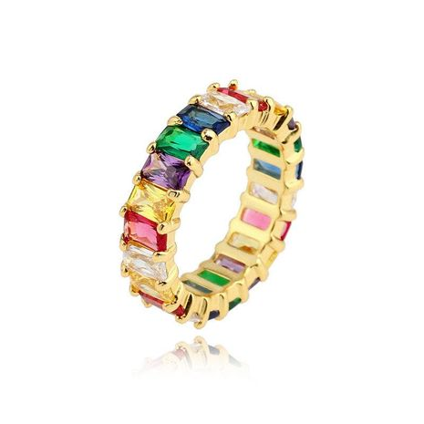 Europe and America micro-inlaid zircon rainbow ring NHLN152171's discount tags