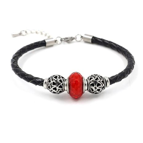 Bracelet en corde tressée en cuir de perles de verre en acier inoxydable NHHM154251's discount tags