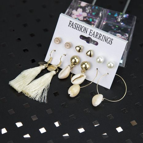 Fashion Alloy Daisy Pearl Natural Shell Tassel Earring Set NHBQ154253's discount tags