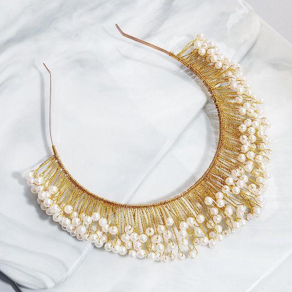 European and American luxury handmade pearl alloy headband NHHS154288