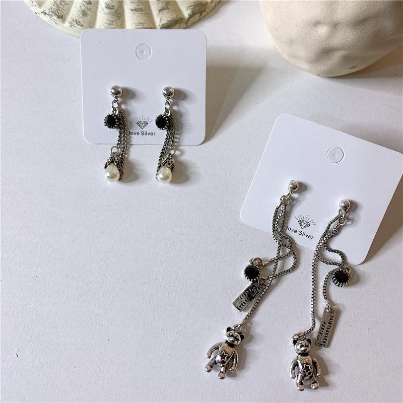 Long face thin old old retro pearl bear earrings NHYQ154307