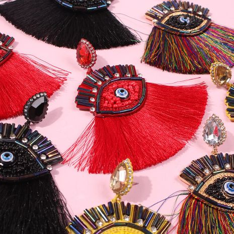 Fashion fun color diamond tassel eye earrings NHMD154312's discount tags