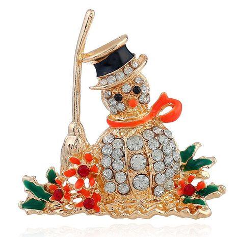 Broche de muñeco de nieve de navidad dorado dorado creativo NHKQ154332's discount tags