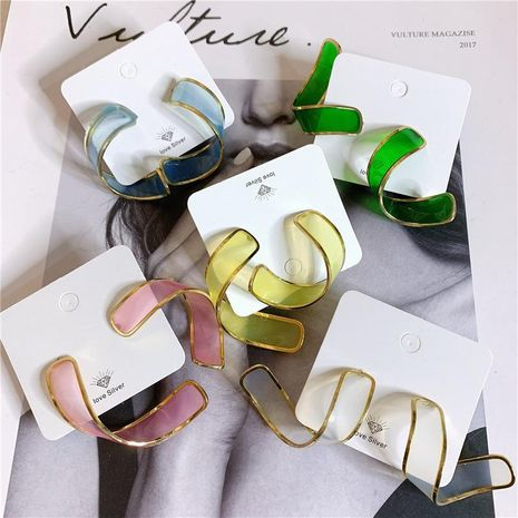 Acrylic transparent color bag gold-rimmed curled long earrings NHYQ154349's discount tags