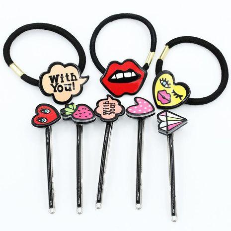Fashion Acrylic Cartoon Graffiti Love Hair Clip NHDP154384's discount tags