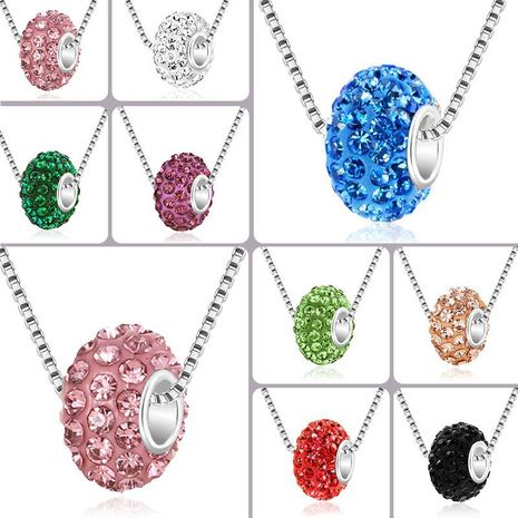 Fashion Shamballa full diamond soft hole large hole bead ball necklace NHDP154400's discount tags