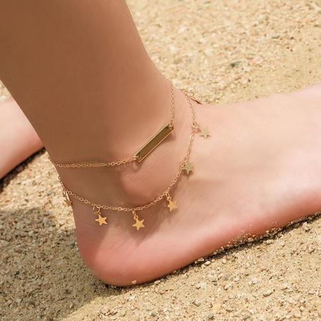 Bracelets de cheville en alliage à cinq branches à double couche NHDP154402's discount tags