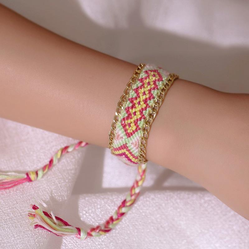 Hand-woven twist color cotton bracelet NHDP154408