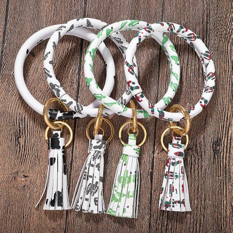 Fashion leather fringed bracelet key ring NHJQ154409's discount tags