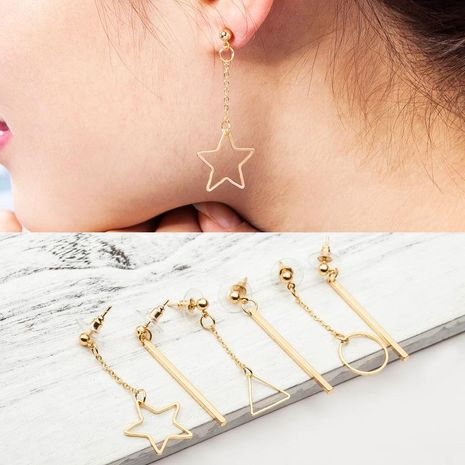 Simple geometric asymmetrical five-pointed star alloy earrings NHDP154426's discount tags