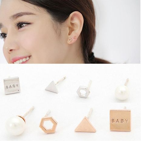 Geometric alloy set earrings NHDP154435's discount tags