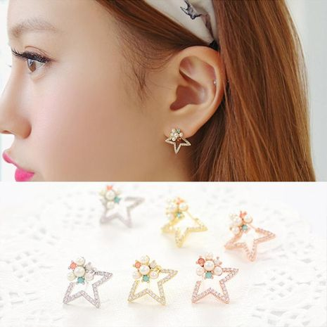 Fashion flash diamond five-pointed star stud earrings NHDP154448's discount tags