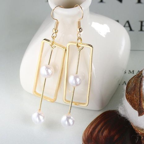 Simple rectangular alloy pearl long earrings NHDP154449's discount tags