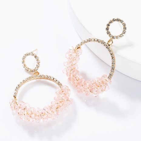 Fashion Alloy Ring Rhinestone Beaded Earrings NHJE154461's discount tags