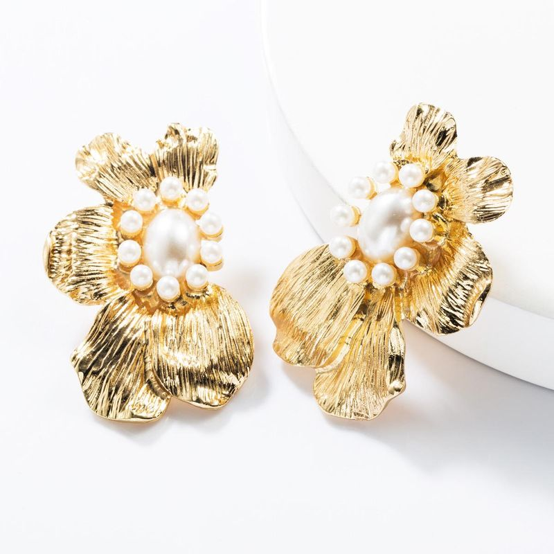 Alloy Pearl Flower Earrings NHJE154466