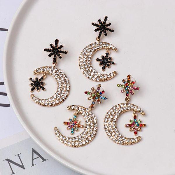 Colored diamond moon stud earrings NHJJ154472