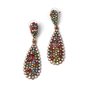 Colored diamond drop-shaped earrings NHJJ154474's discount tags