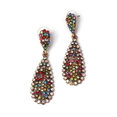 Colored diamond drop-shaped earrings NHJJ154474's discount tags