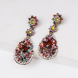 Colored diamond drop-shaped earrings NHJJ154475's discount tags