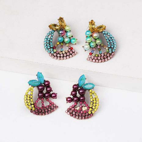 New color diamond-studded pearl fruit earrings NHJJ154481's discount tags