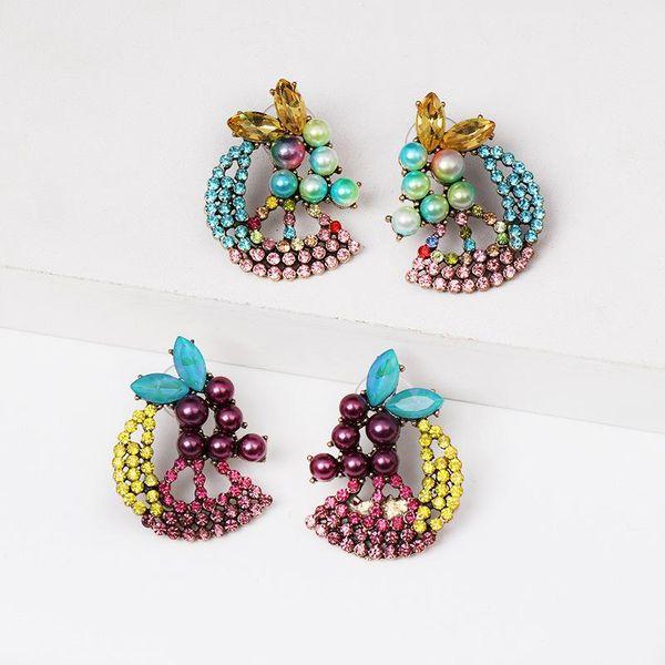 Nuevo color aretes de perlas con perlas de diamantes NHJJ154481