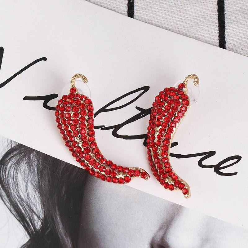 Red diamonds small pepper stud earrings NHJJ154482