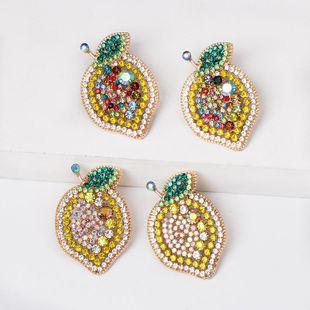 Colored diamond fruit lemon stud earrings NHJJ154484's discount tags