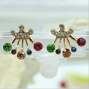 Colorful diamond bow crown stud earrings NHDP154486's discount tags