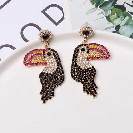 Colored diamond-studded woodpecker stud earrings NHJJ154488's discount tags