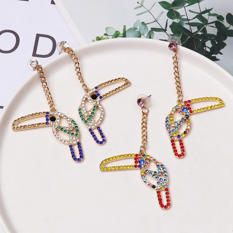 Colored diamond-studded woodpecker stud earrings NHJJ154498