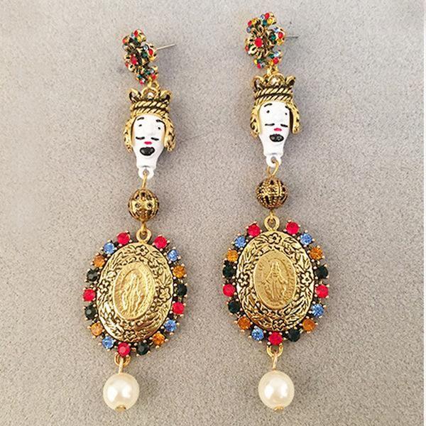 Pendientes de diamantes exagerados barrocos vintage NHNT154521