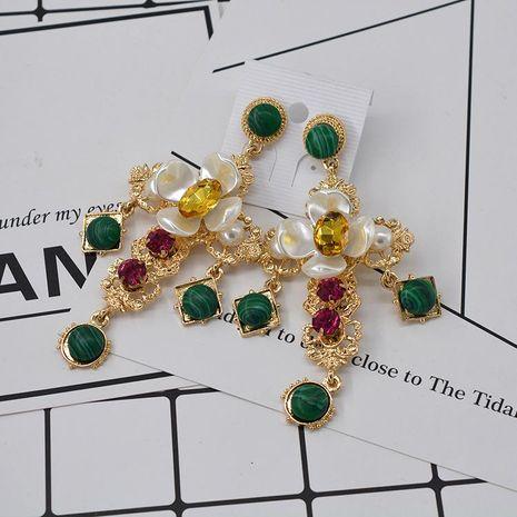 Flower emerald cross earrings NHNT154523's discount tags