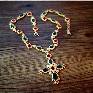 Collar de cadena de suéter de piedras preciosas de colores cruzados NHNT154532's discount tags