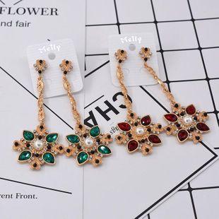 Pendientes exagerados de cristal largos retro de moda NHNT154538's discount tags