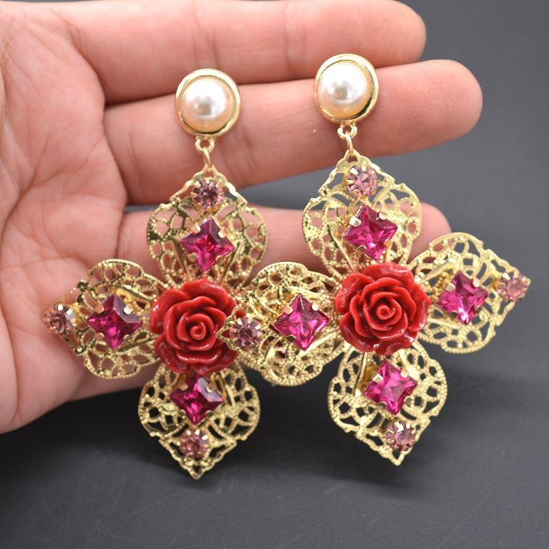 Baroque metal pearl porcelain flower geometric earrings NHNT154542