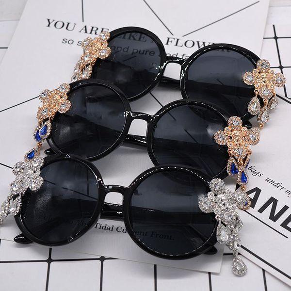 Cabeza de león de moda con diamantes retro gafas de sol al aire libre NHNT154545