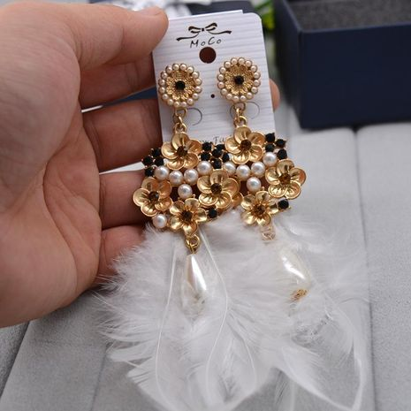 Boucles d'oreilles pompon Bohème longues plumes blanches NHNT154550's discount tags