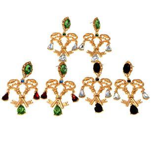 Pendientes vintage de cristal con llave barroca NHNT154556's discount tags