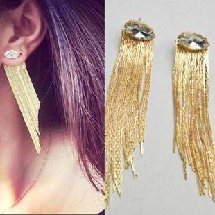 Fashion Horse Eye Zircon Pendientes largos con borlas doradas NHNT154566's discount tags