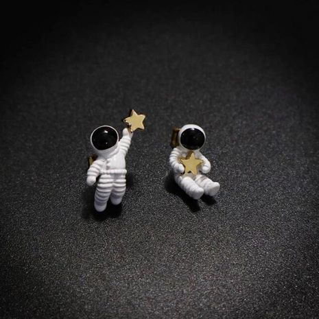 Funny cute cartoon spaceman stud earrings NHNT154567's discount tags