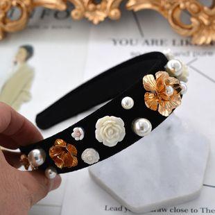 Diadema suave con corona de flores rojas barrocas NHNT154575's discount tags
