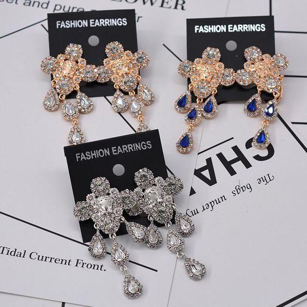 Pendientes largos de diamantes de imitación exagerados vintage de moda NHNT154586