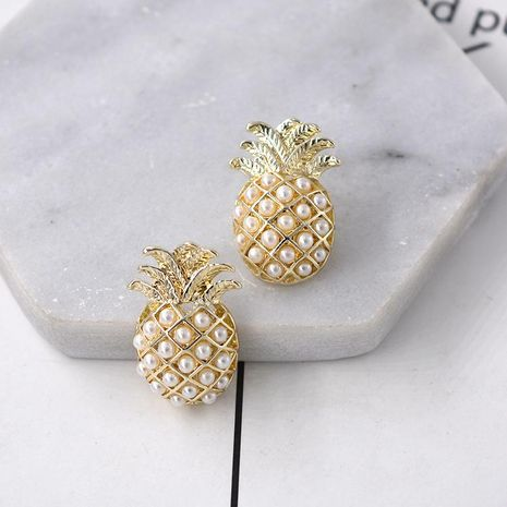 Creative Zircon Pearl Pineapple Alloy Earrings NHNT154585's discount tags