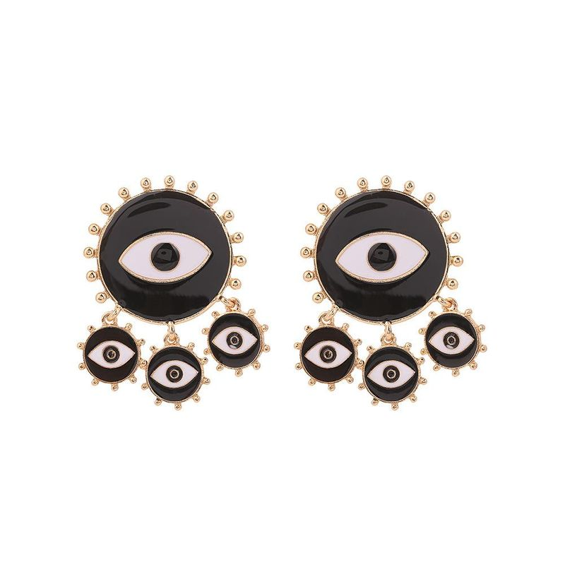 Retro Black Alloy Drop Oil Devil's Eye Eye Earrings NHHN154592