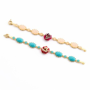 Fresh and lovely artificial gemstone flower ladies bracelet NHQD154596